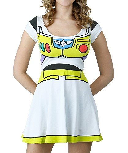 [I Am Buzz Lightyear Toy Story Disney Movie Mighty Fine Jrs Costume Skater Dress Large] (Buzz Lightyear Costumes Women)