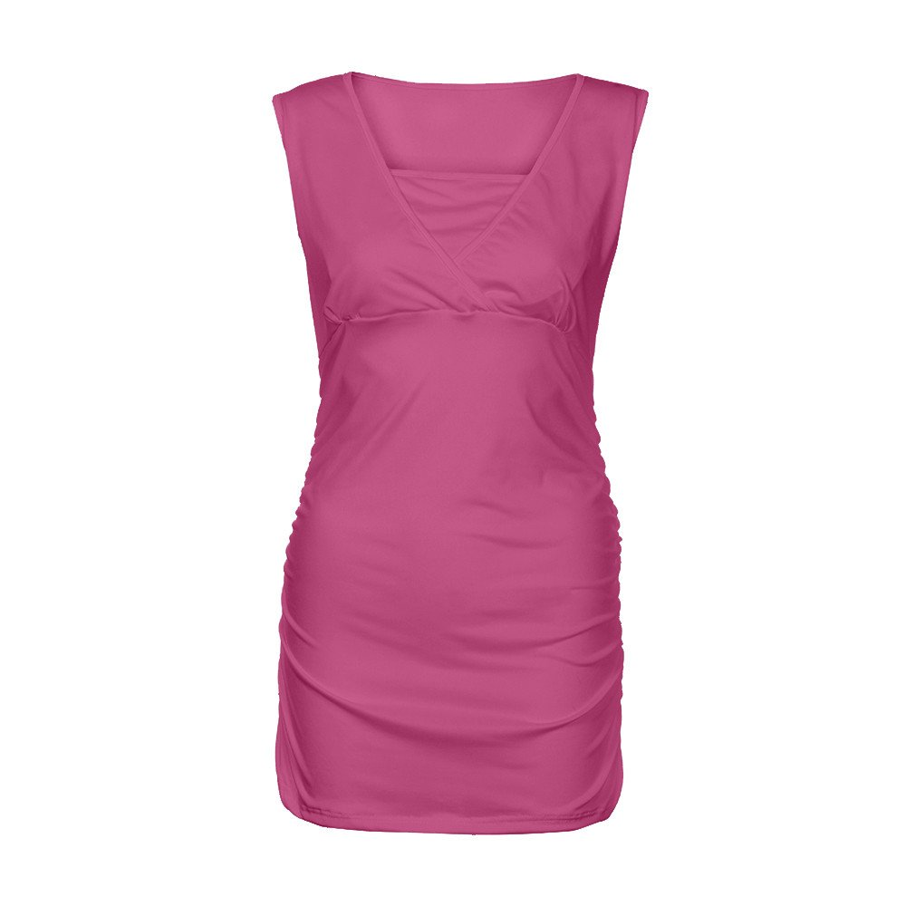 Women's Ruched Hem Blouse, Gogoodgo Ladies V-Neck Cross Strap Maternity Tops Stretched Round Neck Tank Tops Hot Pink by Gogoodgo vest (Image #4)