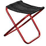 Heruai Outdoor Folding Stool Aluminum Alloy Portable Folding Chair Fishing Beach Chair Leisure Stools , red