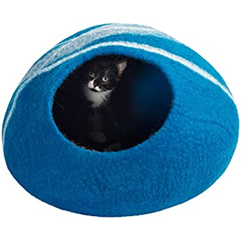 Twin Critters Handcrafted Cat Cave Bed (Large) I Ecofriendly Cat Cave I Felted from 100% Natural Merino Wool I Handmade Pod for Cats and Kittens I Warm and cozy cat bed (Blue Jay)