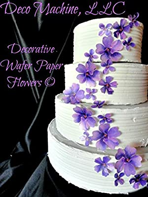 "24 PURPLE Lavender Decorative Wafer Paper Flowers © 3 Sizes 1"" - 2"" Wedding Cake Toppers"