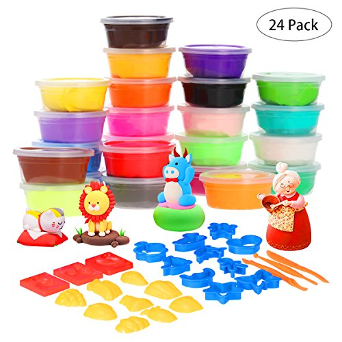 TOYMYTOY Air Dry Clay 24 Colors Ultra Light Modeling Clay Magic Clay DIY Creative Modeling Dough with Modeling Clay Tools Stress Relief Toys