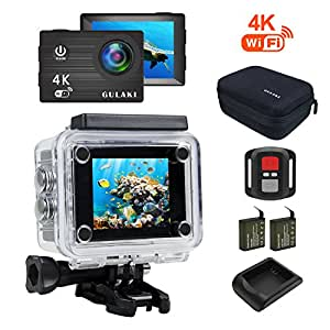 Mini Sport Camera, GULAKI 4K Action Cam WIFI Waterproof HD Video 170 Degree Wide Angle Full Accessories Kits Include 2 Rechargeable Battery