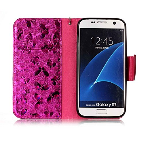 Samsung Galaxy S7 PU Cuero Funda, Vandot 3D Bling Rhinestones Mariposa Shell TPU Inner Bumper Case Funda con Billetera Tapa Holster Cierre Magnético Tarjeta Ranura Carcasa Teléfono Concha Bolsa Capas  LSFD 06