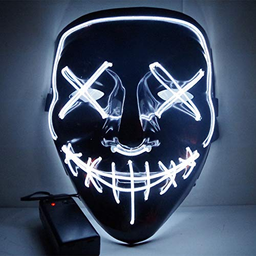 LED Light Mask Up Funny Mask from The Purge Election Year Great for Festival Cosplay Halloween Costume 2018 New Year Cosplay (J) -