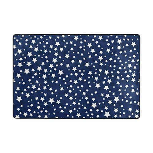 Vantaso Area Rugs Soft Foam White Stars Blue Non Slip 72x48 inch Playmats for Kids Playing Room Living Room (Blue Star Rug)