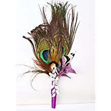 Peacock feather corsage for night games, dinners, parties, the master of ceremonies, the groom, the best man to wear …