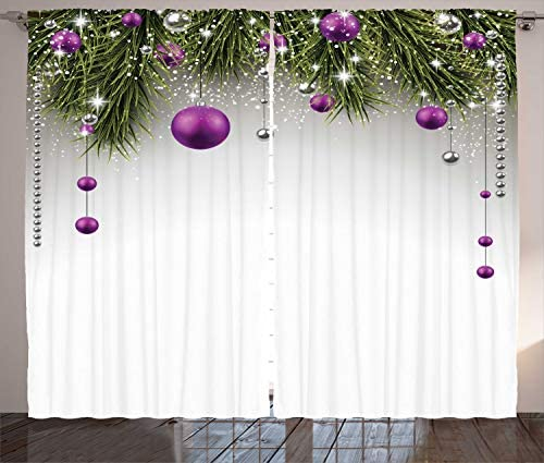 Ambesonne Christmas Curtains, Tree with Tinsel and Ball with Present Wrap Ribbon Celebration Picture, Living Room Bedroom Window Drapes 2 Panel Set, 108 X 90 , Purple Grey