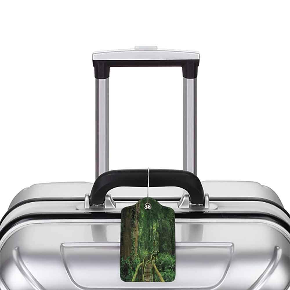 Modern luggage tag Nature Decor Deep Rainy Forest Big Long Trees and Abandoned Bridge with Moss Portrait Art Suitable for children and adults Green W2.7 x L4.6