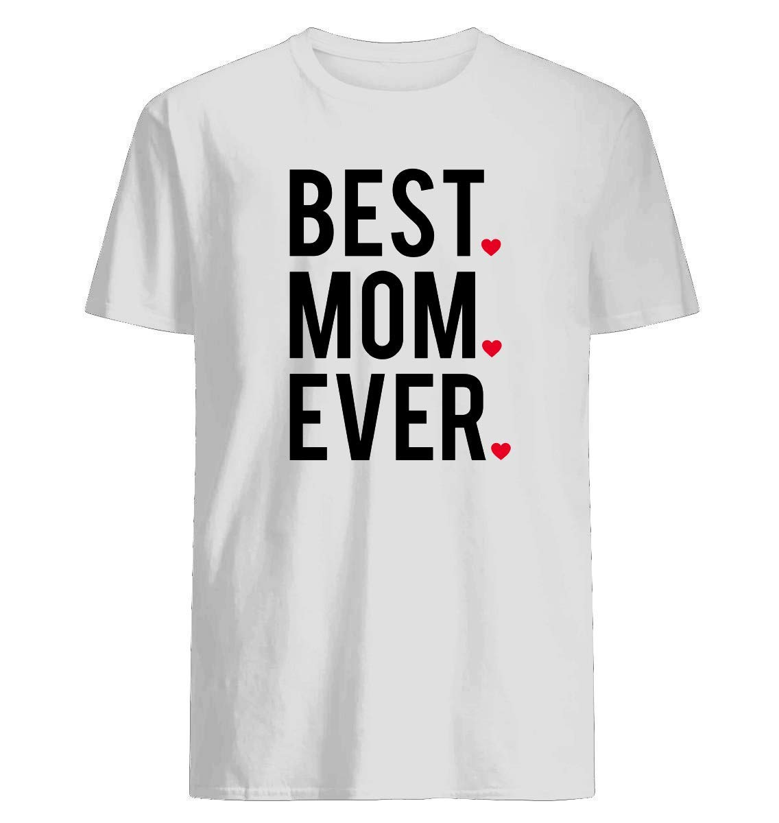 Best Mom Ever, Word Art, Text Design With Red Hearts 96 Unisex Short Sleeve Graphic Fashion T-shirt