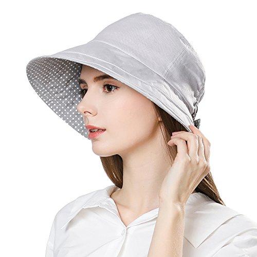 - Jeff & Aimy Women's Lightweight Linen Bucket Beach Sun Hats Wide Brim UV Protection Foldable Travel Fishing Sunhats Grey