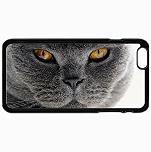 Customized Case Back For Iphone 6 Plus 5.5 Inch Hard Cover Personalized Cat Close Up Whiskers Fur Snout Black WANGJING JINDA