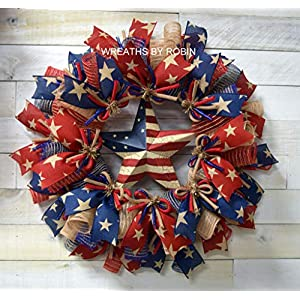 Patriotic Rustic RWB Wreath, RWB Star Wreath - Item 2638 33