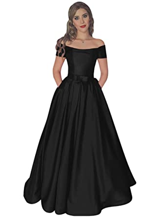 Harsuccting Off The Shoulder Lace Up Long Satin Prom Dress With Pocket 2