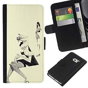 A-type (Bosquejo de la moda Outfit Diseño Negro Blanco) Colorida Impresión Funda Cuero Monedero Caja Bolsa Cubierta Caja Piel Card Slots Para Samsung Galaxy S6 EDGE (NOT S6)