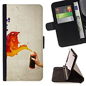 DEVIL CASE - FOR Samsung Galaxy S4 IV I9500 - Paint Spray Art Splash Orange Red Blue Wall - Style PU Leather Case Wallet Flip Stand Flap Closure Cover