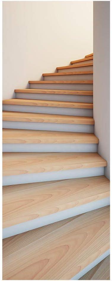 2pcs Escaleras 3D Pegatinas de Puerta Hermosa Moderna Creativa Expansión Espacial Papel Tapiz PVC Autoadhesiva Murales de Puerta a Prueba de Agua 3D Calcomanías para el hogar (marrón Claro): Amazon.es: Hogar