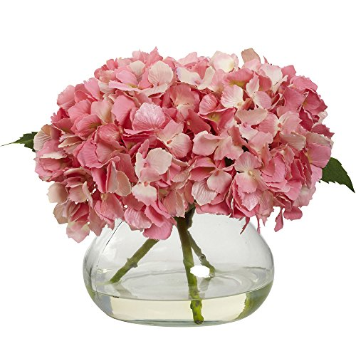 - Nearly Natural 1356-PK Blooming Hydrangea with Vase, Pink