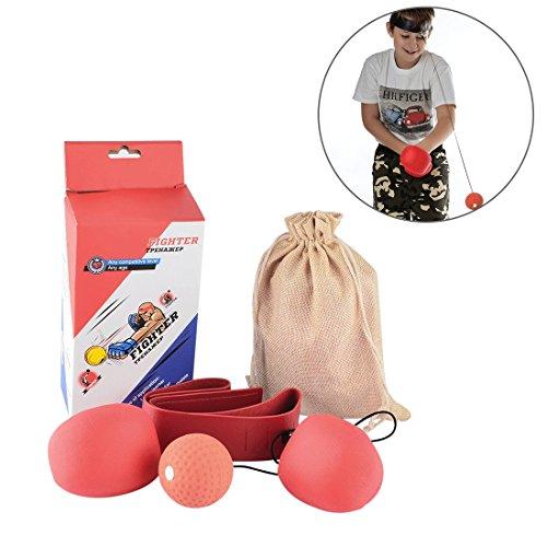 Boxing Set, Peleustech Child Boxing Speed Ball Set Reactivity Awareness Training Punching Speed Ball for Fighting Free Combat - Red