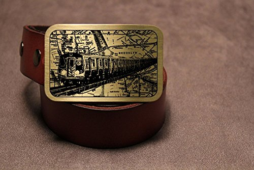 New York City Subway NYC Etched Metal Belt Buckle I LOVE NY