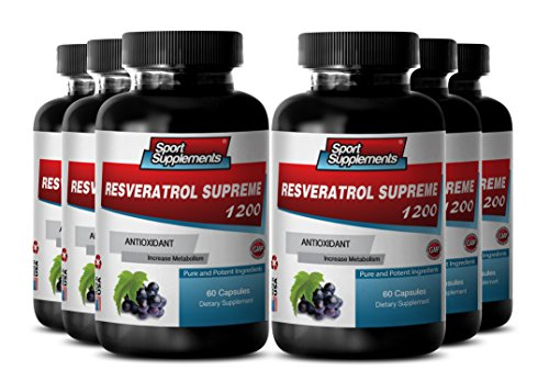 Pure Herbal Supplement - Resveratrol Supreme 1200mg Maximum Strength - Red Wine Supplements (6 Bottles) by Sport Supplements