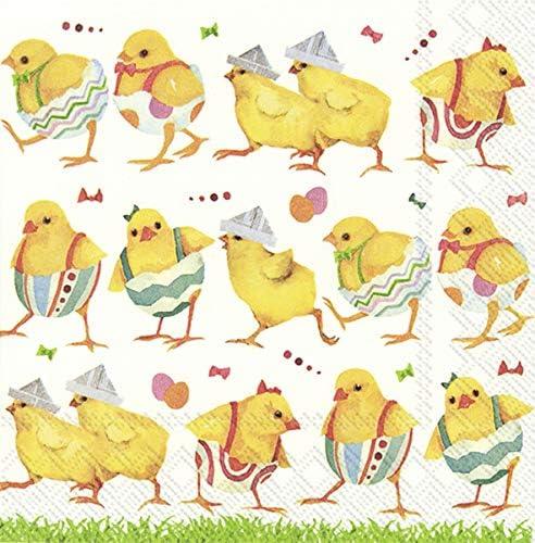 IHR CHICKS ON CATWALK Easter Chicks Cocktail or Tea Napkins paper 25 cm square 20 in pack