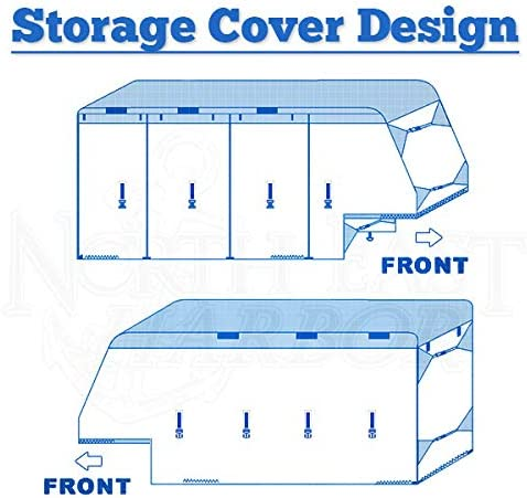 North East Harbor Waterproof Durable 5th Wheel Toy Hauler RV Motorhome Cover Fits Length 37-41 New Fifth Wheel Travel Trailer Camper Zippered Panels 300D Polyester Fabric