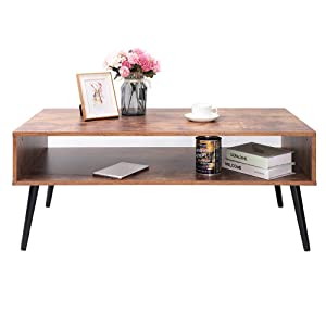 IWELL Mid-Century Coffee Table with Storage Shelf for Living Room, Mid-Century Style Cocktail Table, TV Table, Rectangular Sofa Table, Office Table, Solid Elegant Functional Table, Easy Assembly