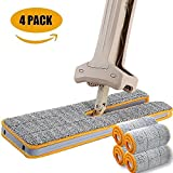 360 floor mop - Towney Double Sided Flat Mop- Microfiber Lazy Flip Floor Mop 360 Spin & Automatic Squeeze Handwash Free Wet and Dry Floor Cleaner for Living Room,Kitchen,Bathroom (4 Mop Clothes All In)