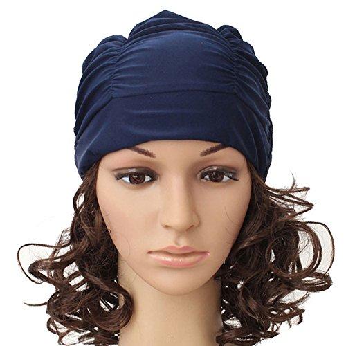 Silicone Swimming Cap Hair Protector Ear Wrap Waterproof Hat Black - 1