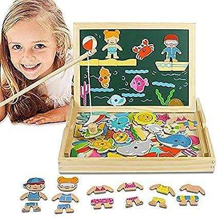 Magnetisches Holzpuzzles Puzzles, Holzpuzzle Tafel, Ankleiden, Doppelseitige Magnetische Angeln Spiel, Schreibtafel für Kind