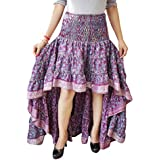Mogul Interior Womens Ruffle Skirt Printed Recycled Sari Tiered Flirty High Low Skirts S/M (Pink)
