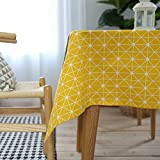 Ustide Modern Style Geometric Tablecloth Diamond Pattern Cotton Linen Table Cloth for Kitchen 55'x78' Yellow