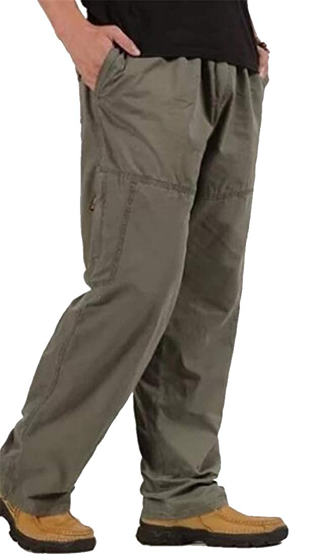 MMCP Mens Casual Multi-Pockets Plus Size Drawstring Elastic Waist Cotton Cargo Pants