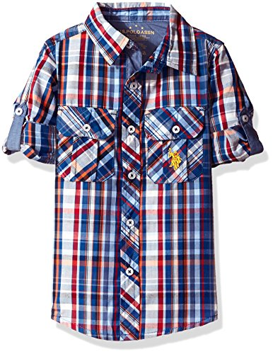 (U.S. Polo Assn. Big Boys' Long Sleeve Plaid Two Pleated Pocket Sport Shirt, Placid Blue, 14/16)