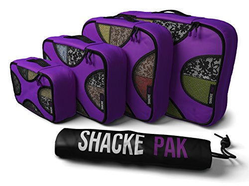 Bag Orchid - Shacke Pak - 4 Set Packing Cubes - Travel Organizers with Laundry Bag (Orchid Purple)