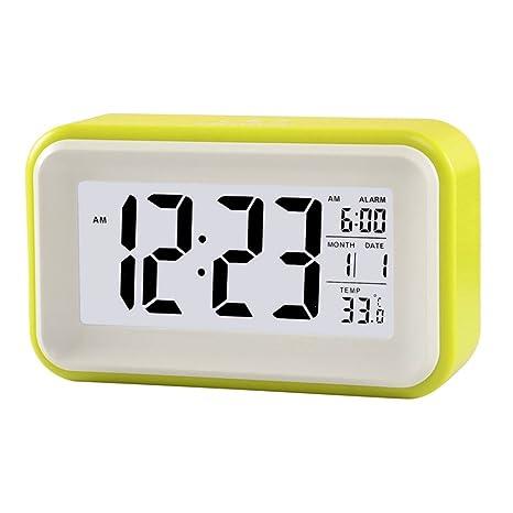 lilamins elegante Tocar electrónico alarma Luz de noche Dormir Temperatura de sobremesa Jong de LCD Silenciar