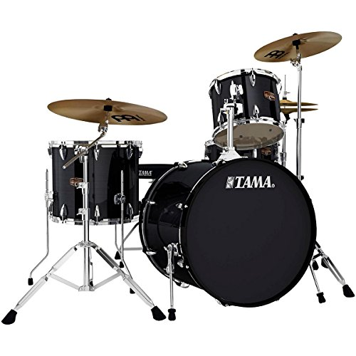 """Tama Imperialstar 4-Piece Drum Set with Hardware and Cymbals (22"""" Bass, 12/16"""" Toms, 14"""" Snare) in Hairline Black"""