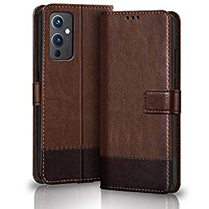 TheGiftKart Dual-Color Leather Finish Flip Back Cover for OnePlus 9 5G | Inside Pockets & Inbuilt Stand | Wallet Style…