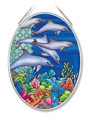(Amia 42568 Ocean Dolphins Medium Oval Suncatcher 7-Inch by 5.5-Inch Hand-Painted Glass)