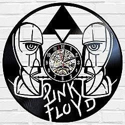 Kovides Pink Floyd Music Art Vintage Vinyl Record Clock Pink Floyd Wall Clock Rock Music Band Minimalist Clock Birthday Gift Idea Decorations for Party Retro Wall Clock