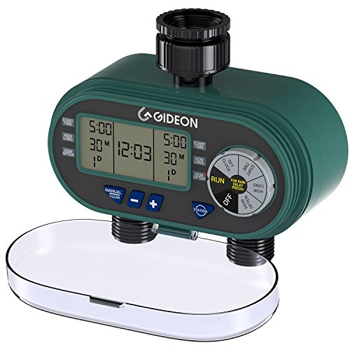 Drip Water (Gideon Dual-valve Hose Irrigation Water Timer Sprinkler System – Battery Powered; Easy Hose Connection with Simple to Use Digital System [UPGRADED VERSION])