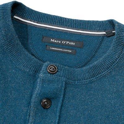 Marc O'Polo Herren Pullover Schurwollmix Sweater Unifarben, Größe: XL, Farbe: Blau