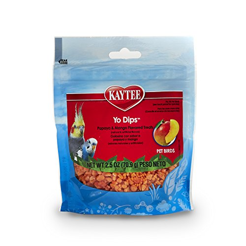 Kaytee  Mango Flavored Yogurt Dipped Papaya Treats For All Pet Birds, 2.5-Oz Bag (Treats Dips Yogurt)