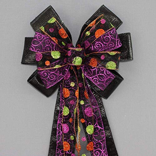 Halloween Sparkle Dot Swirl Black Metallic Wreath Bow - 10