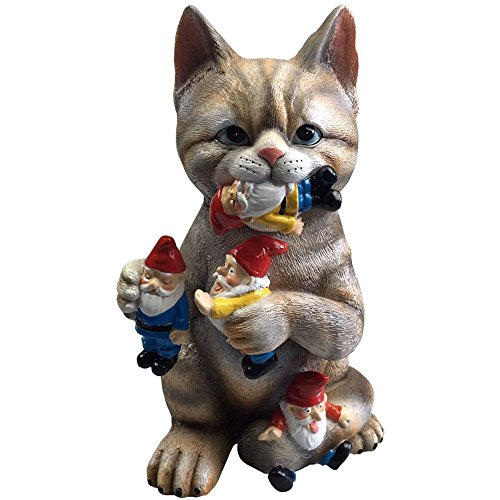 By Mark & Margot - Mischievous Cat Garden Gnome Statue Figurine - Best Art Décor for Indoor Outdoor Home Or (Garden Figurine)