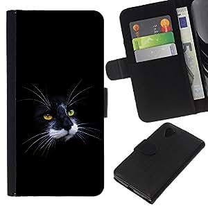 Stuss Case / Funda Carcasa PU de Cuero - Gato negro y blanco de la nariz del bigote - LG Nexus 5 D820 D821