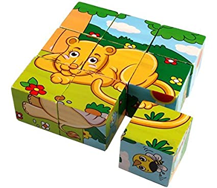 Trinkets & More - 3D 6 Face Animal Block Puzzle | 6 in 1 Wooden Cube Jigsaw Toys | 9 Pieces Early Education Boys Girls 3+ Years (Wild Animals)