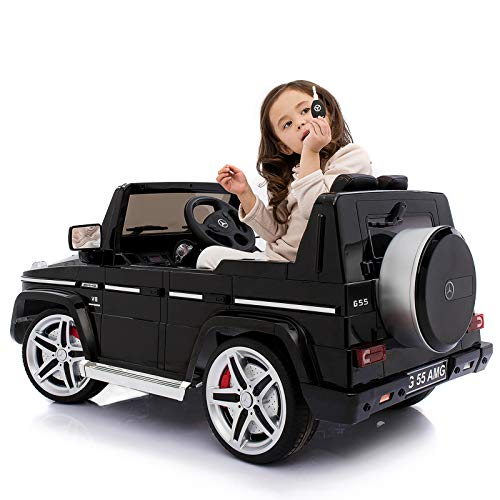 Uenjoy 12V Kids Ride On Car Battery Power W/ Wheels Suspension Electric Motorized Mercedes Benz AMG G55 SUV Featured Lights, AUX in, Music, Larger Size Black