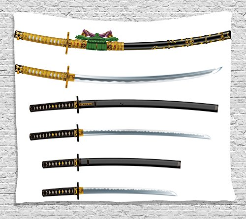 ll Hanging by Ambesonne, Set of Curved Slender Single-Edged Blade Japanese Swords Katana Historical Guard Image, Bedroom Living Room Dorm Decor, 80 W X 60 L Inches, Gold Black (Woven Blade Set)